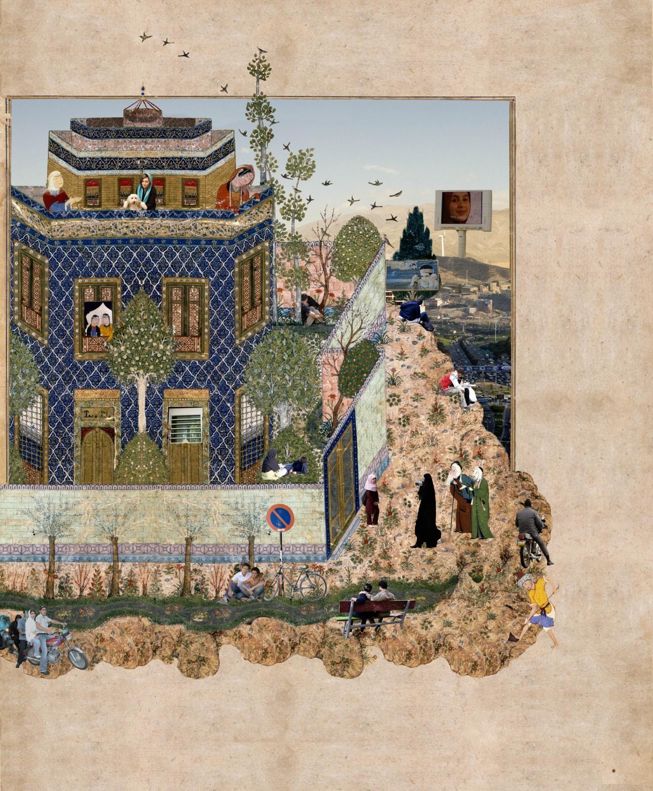 Barbad caché dans un cyprès joue pour le roi - Iran, Tabriz, vers 1535 Nasser D. Khalili Collection of Islamic Art© Nour Foundation Courtesy of the Khalili Family Trust