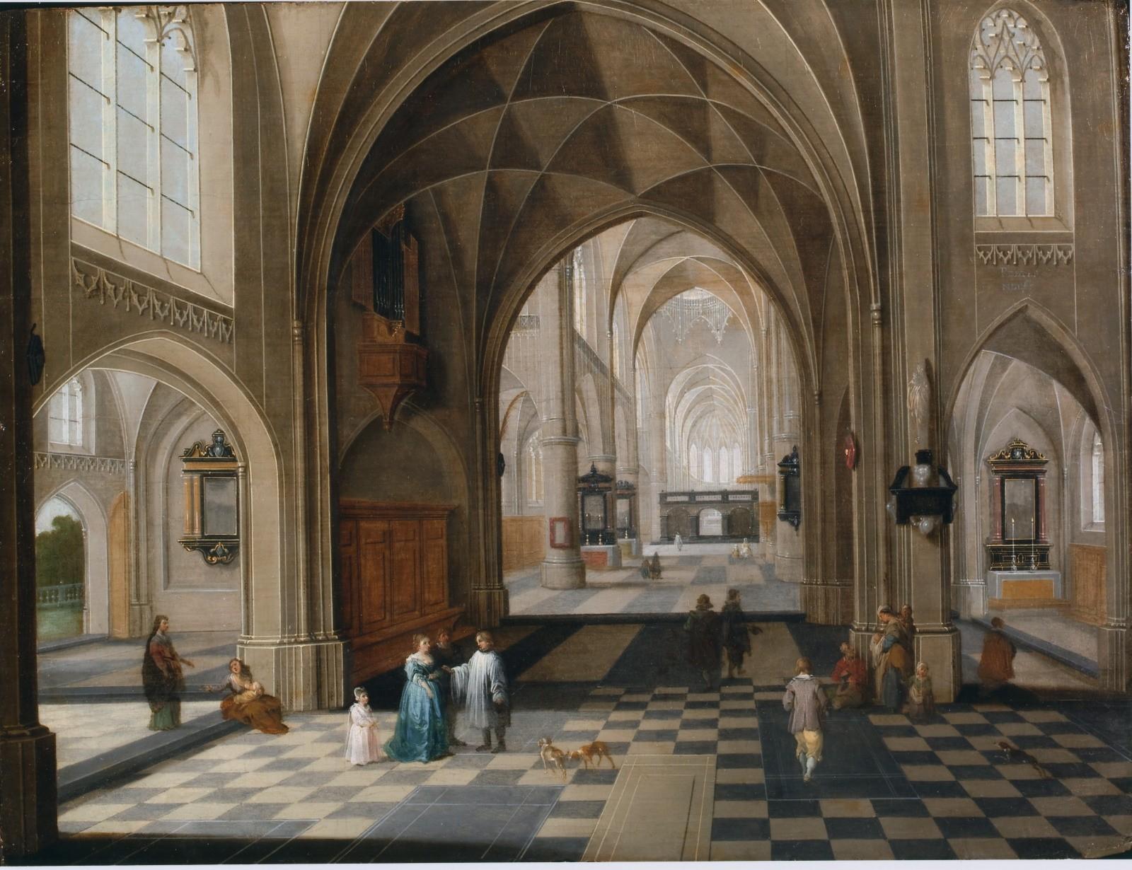 Hendrick Van Steenwijck le jeune, Intérieur d'une cathédrale gothique Huile sur cuivre © Collection privée