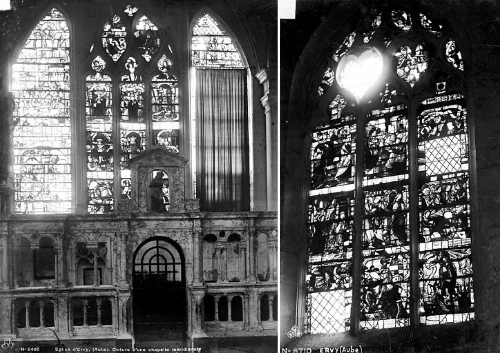 La lacune en vitrail est un vide éblouissant. Exemples de l'église d'Ervy-le-Chatel (10). La lancette en losange de la baie dite
