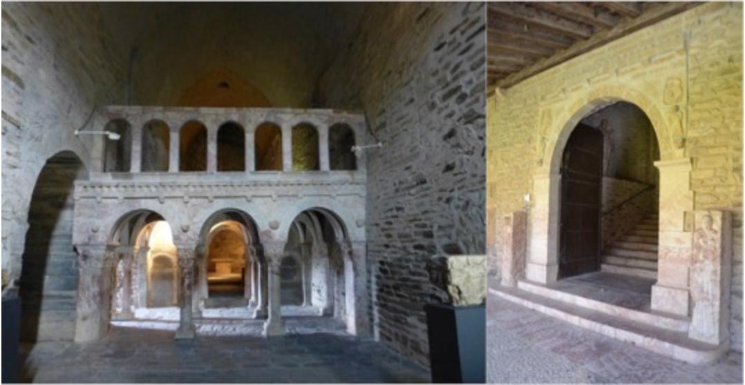 À gauche, le prieuré Sainte-Marie de Serrabona ; à droite, l'abbaye de Saint-Michel de Cuxa. © Olivier Weets Architecte.