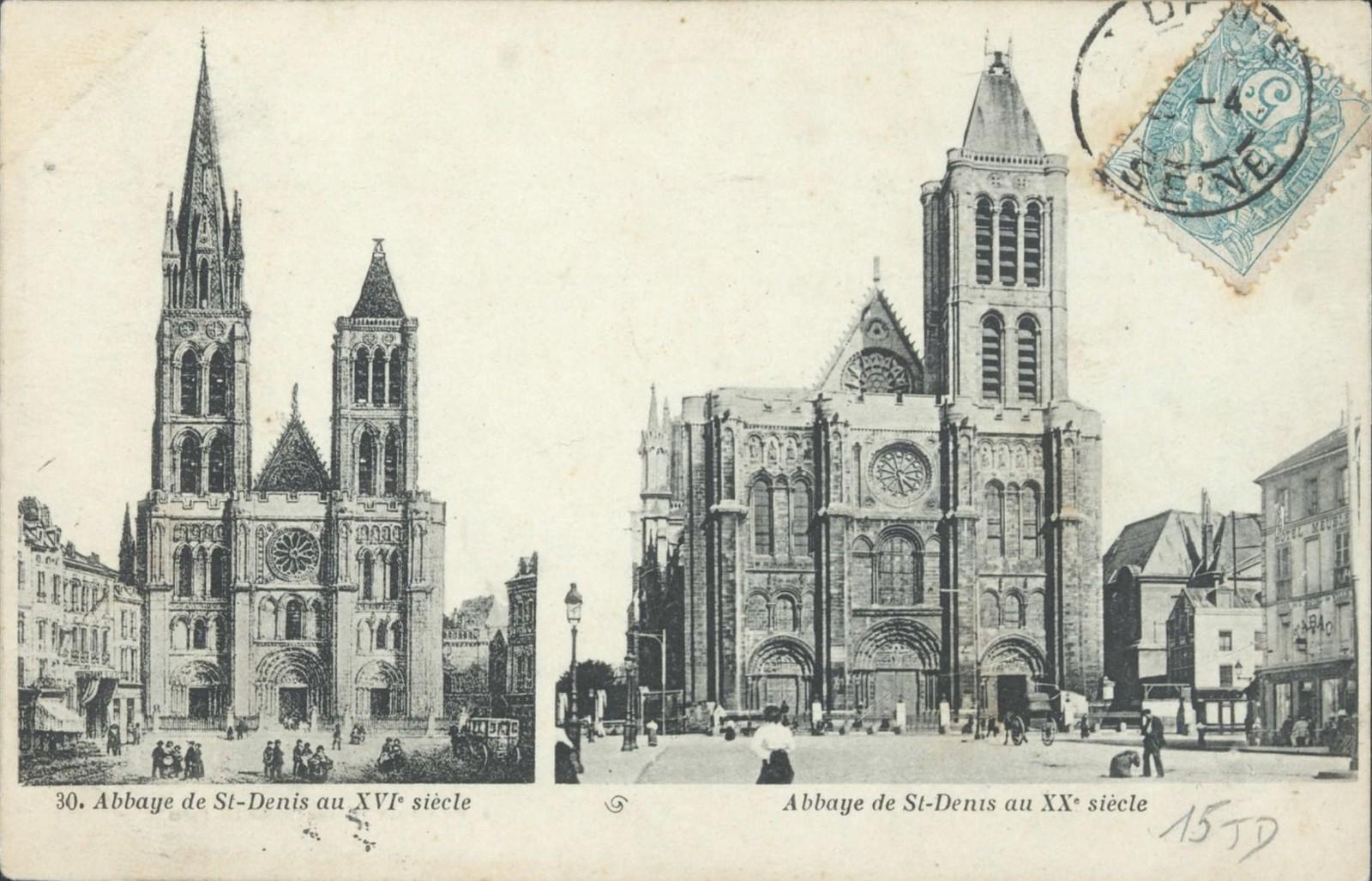 Carte postale ancienne montrant l'attachement de la ville au clocher nord de la basilique, démonté en 1846-47.