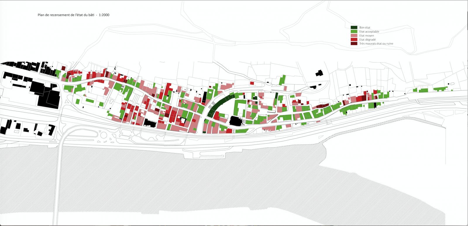 Carte montrant l'état du bâti de Port-Sainte-Marie (47) bourg installé au bord de la Garonne, étude préalable à la revalorisation du cœur de ville Port Sainte-Marie. © Atelier du Rouget, 2018.