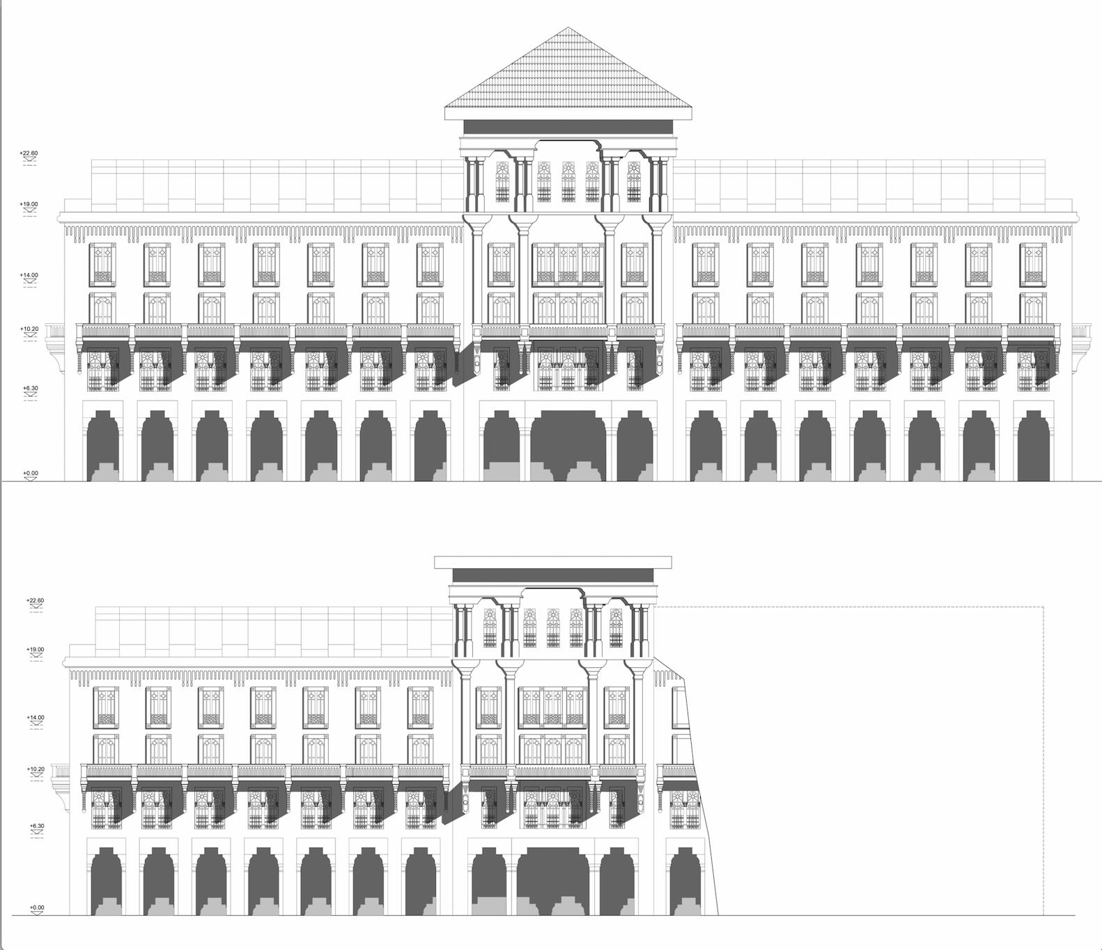 Façade principale de l'immeuble Bessonneau, autrement dit l'Hôtel Lincoln. En haut, à son époque, 1917 ; en bas, dans son état actuel, après l'effondrement. © Yousra Mghabbar.