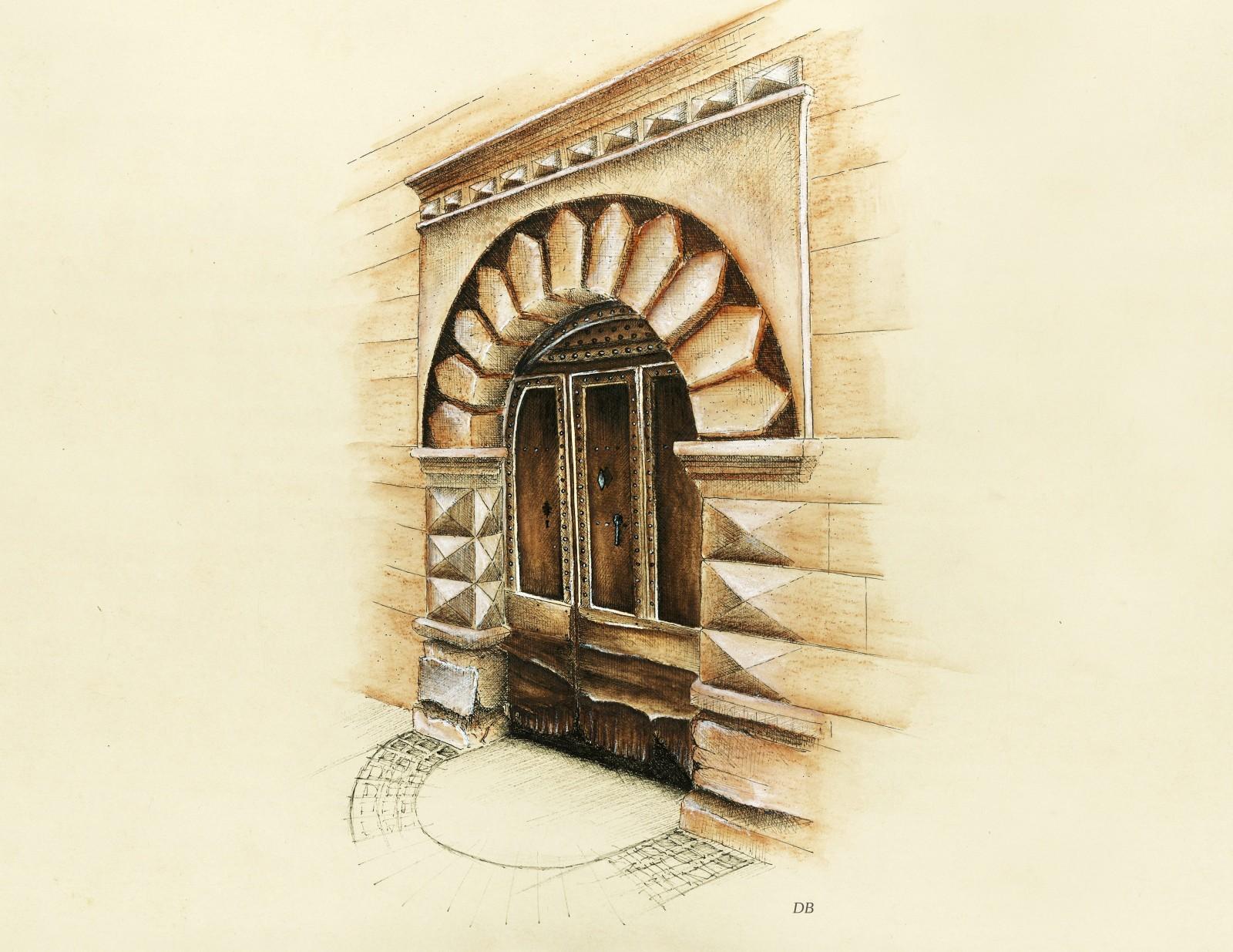 Pézenas, impasse Fromagerie-Vieille : entrée d'un immeuble du XVIIIe siècle avec sa porte cloutée, ses bossages en pointes-de-diamant et ses joints tirés à la pointe. © Dessin de l'auteur.