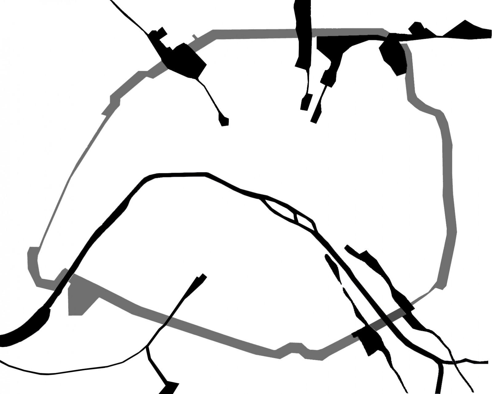 Permanence : la ceinture des HBM de Paris comme nouvelle enceinte et les percées de gares comme nouvelles portes de ville. Dessin : Katya Samardzic AUE