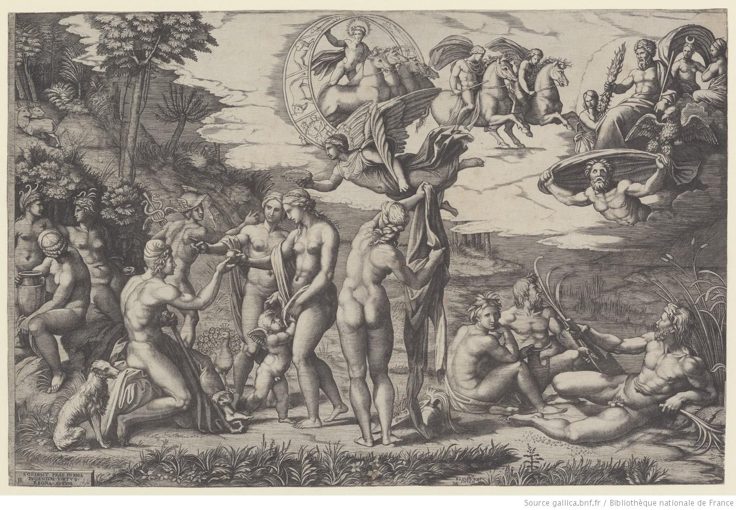 Le jugement de Pâris, tiré de l'Iliade et l'Odyssée. [estampe] / RAPH. URBI. INVEN. [d'après Raphaël] ; MAF [Marc-Antoine Raimondi] {monogr.} Source: Gallica, BNF.