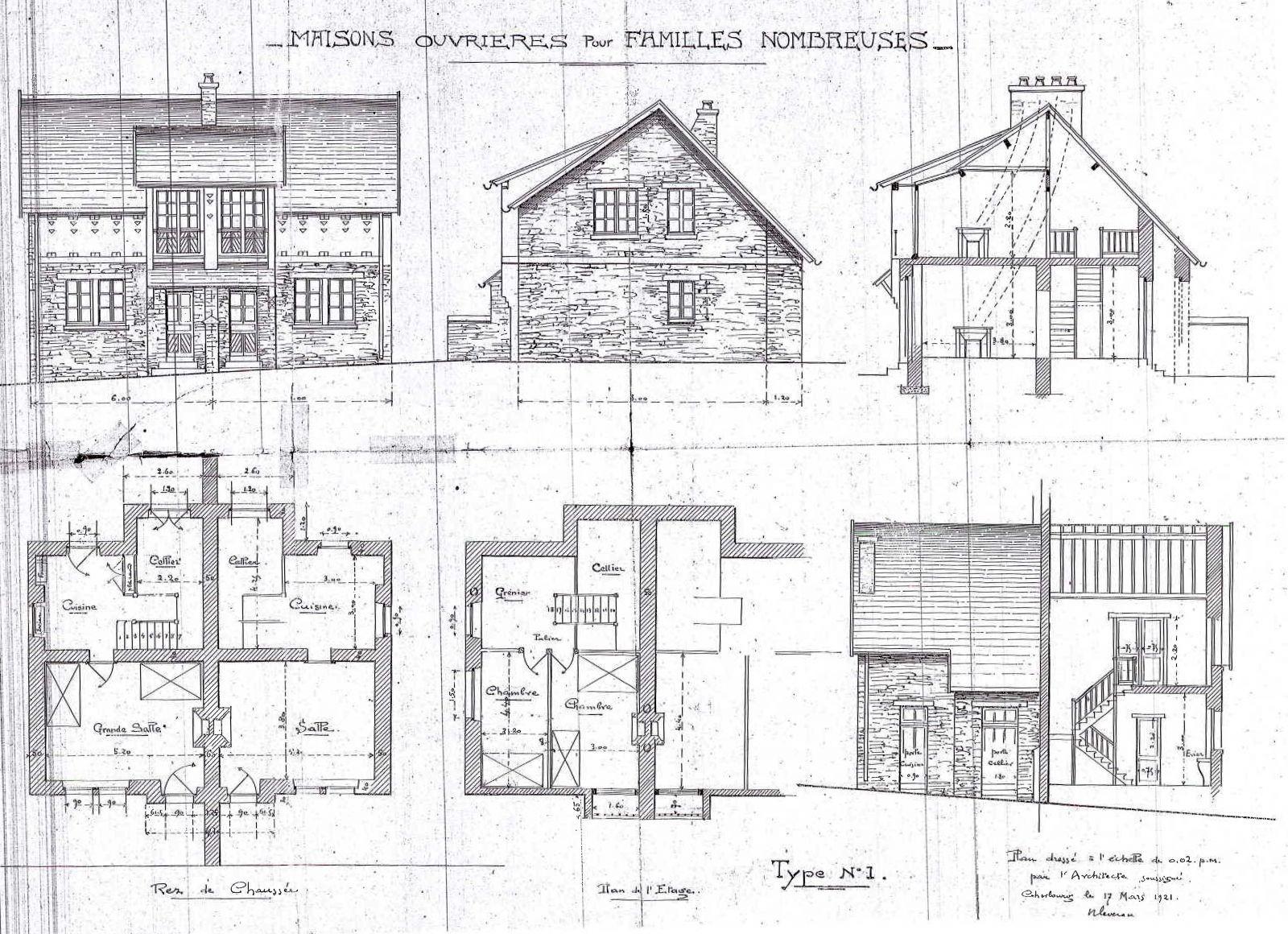 Plans, coupes et élévations par l'architecte des maisons de la rue du Dr Carré. © Archives de la SA HLM du Cotentin 1921