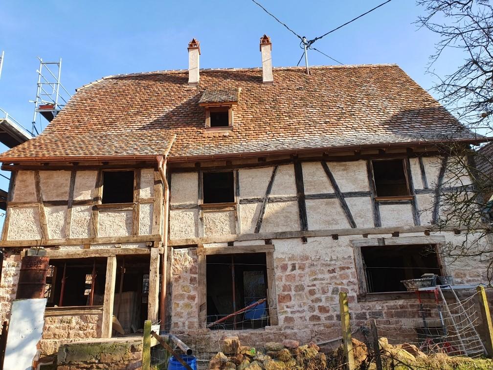 L'arrière de la maison dans son état actuel ;  l'aménagement a recueilli l'avis favorable de l'ABF  Nord Alsace Sandu Hangan. © Carole Waldvogel.