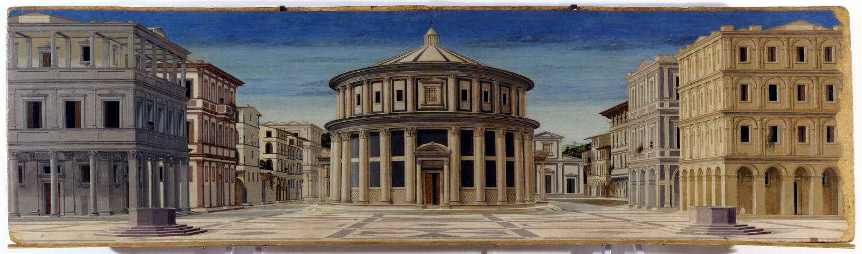 Cité idéale d'Urbino 1480-1490 ; auteur inconnu (longtemps attribué à Pierro della Francesca),  Galleria Nazionale delle Marche, Palais ducal d'Urbino. Source Wikimedia.