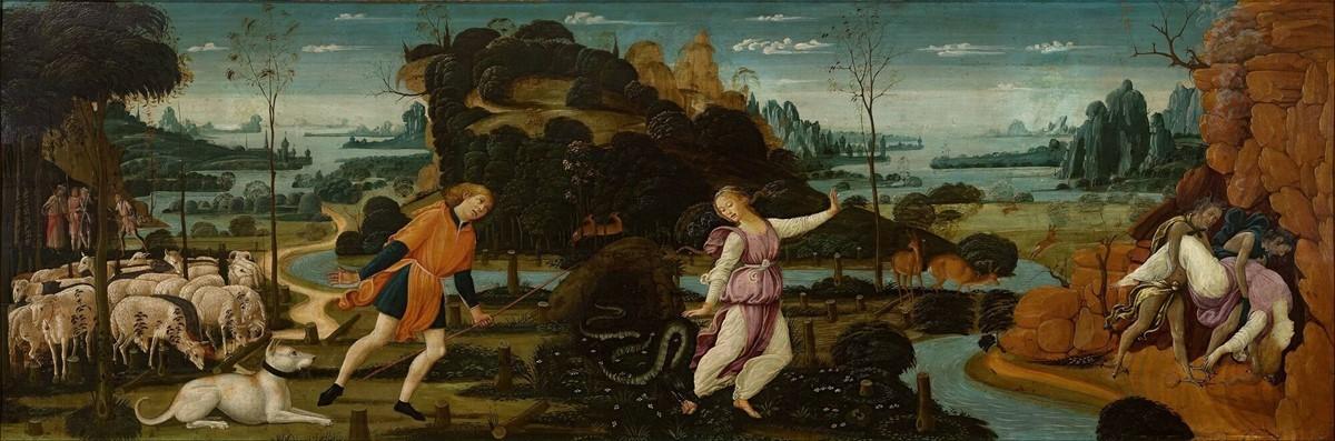 Orphée, Eurydice et Aristaeus par Jacopo da Sellaio (1475/1480). Source : commons.wikimedia.org et Museum Boijmans Van Beuningen collection online.