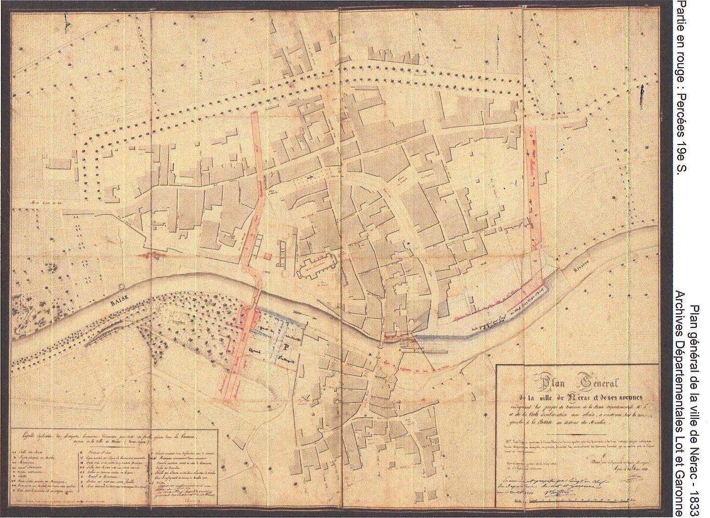 En rouge, les percées du XIXe siècle. Plan général de la ville de Nérac en 1833. Archives du département Lot et Garonne.