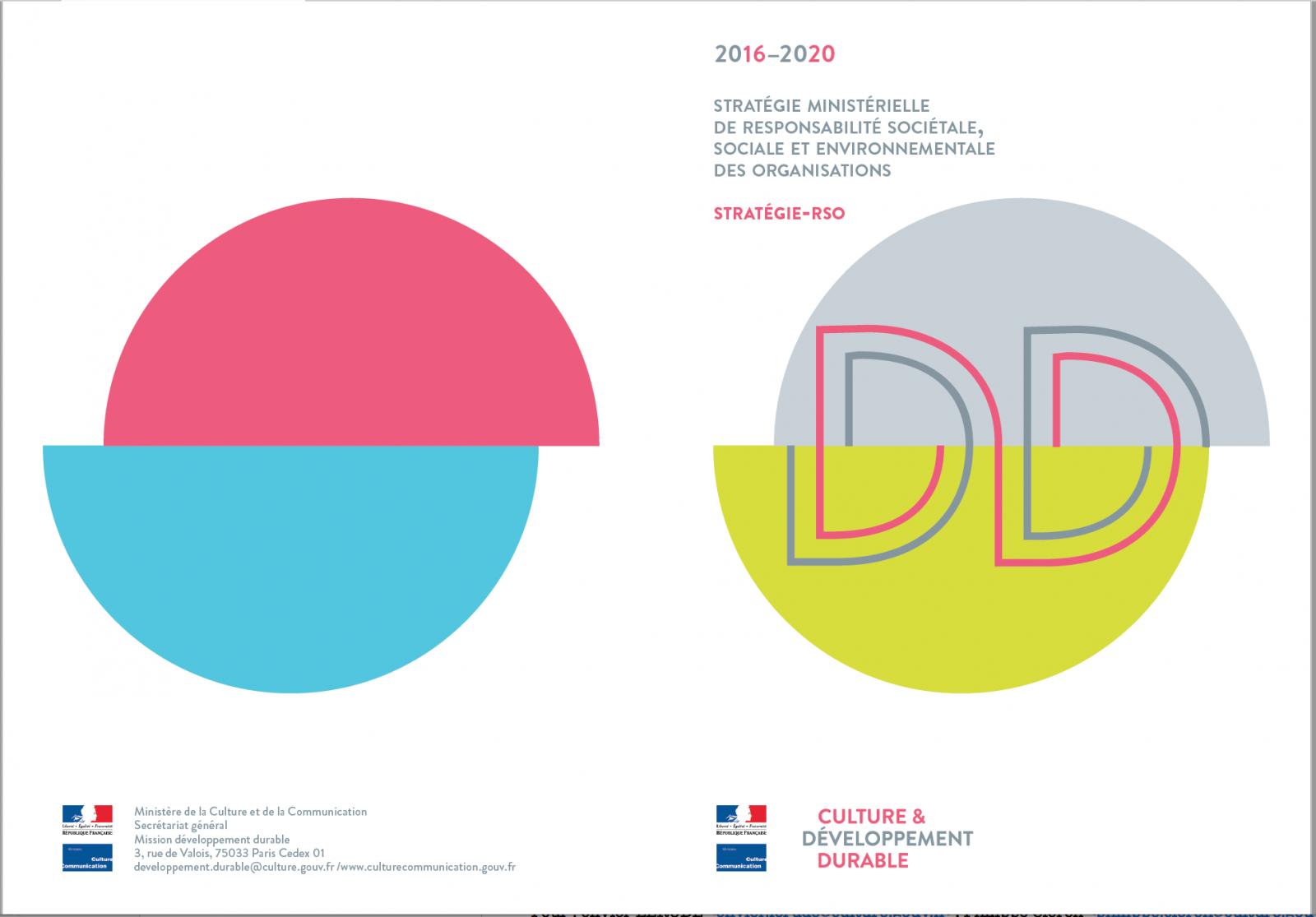 La nouvelle Stratégie-RSO 2016-2020 du ministère de la Culture et de la Communication (Couverture du livret). © MCC