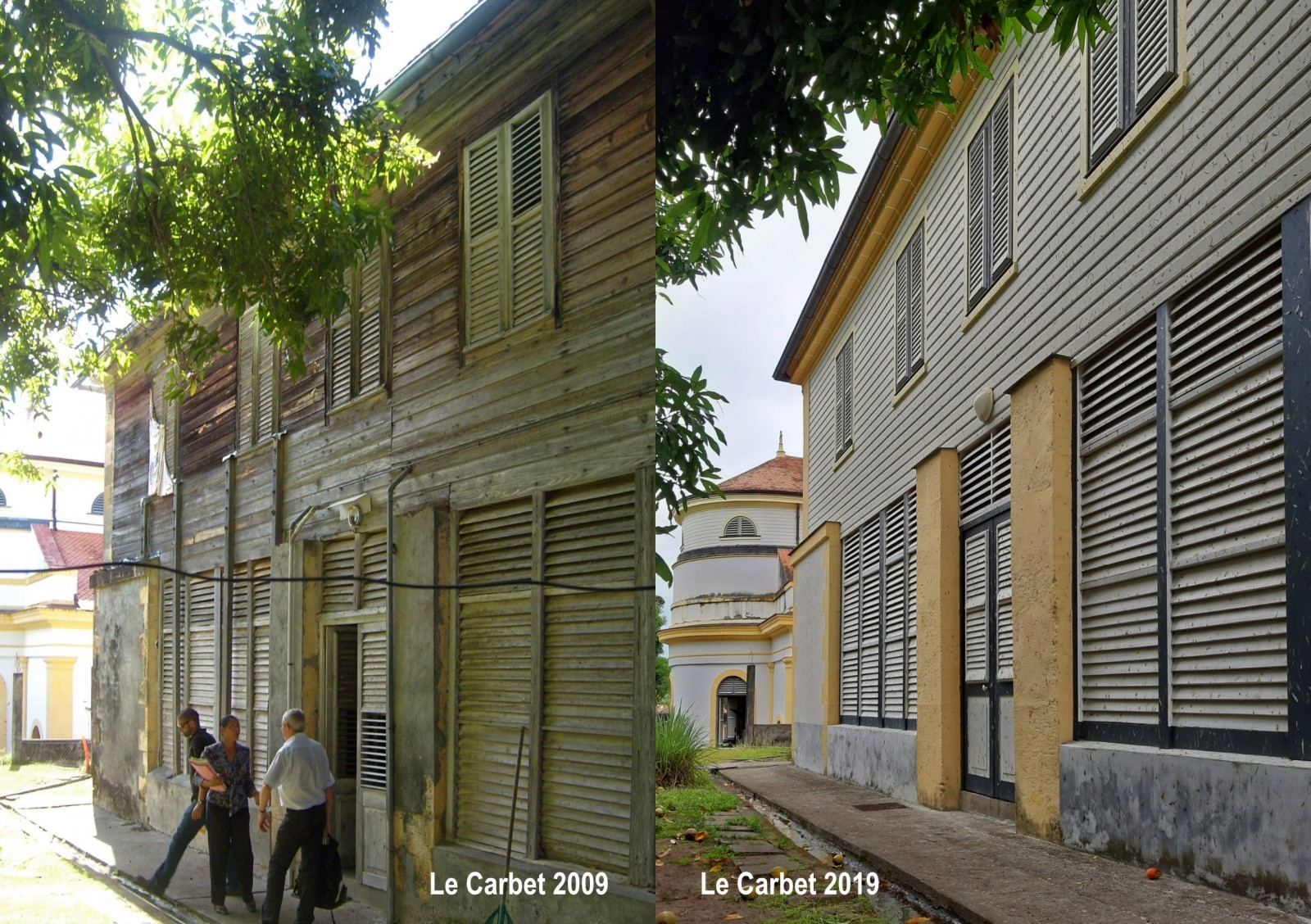 Réhabilitation des toitures et façades du presbytère du Carbet, MH classé 1992. ACMH E. Poncelet © N. Choplain, Battoil.