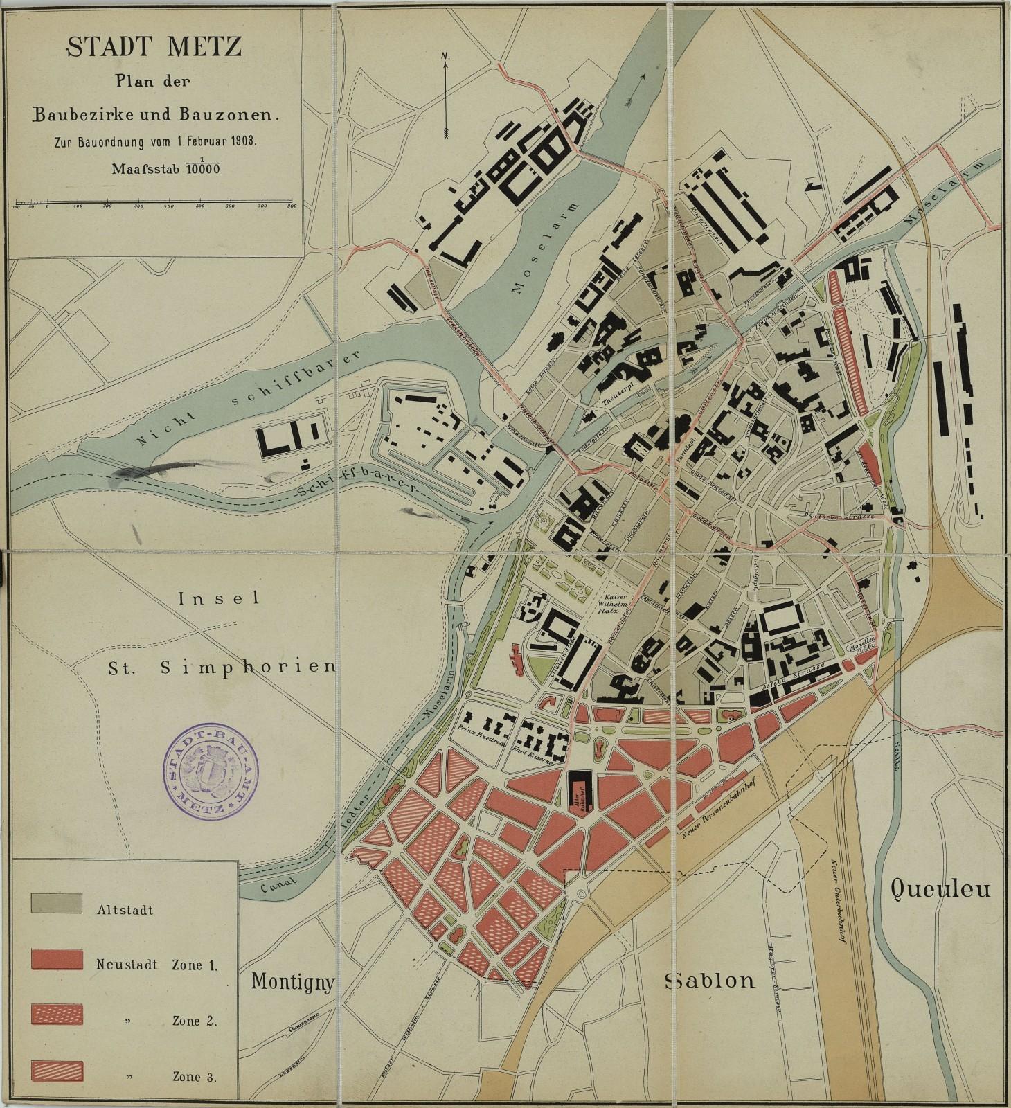 Plan de zonage accompagnant la nouvelle police de construction de la ville de Metz au 1er février 1903 (Archives municipales de Metz, MC 464).