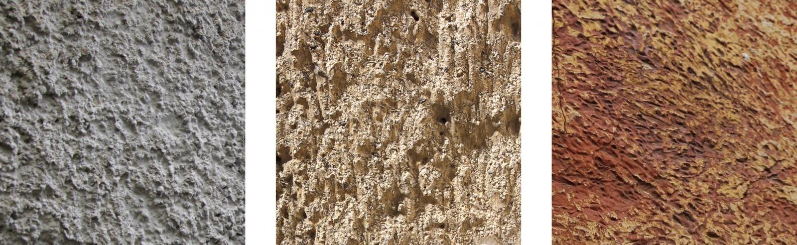 Crépis apparents sur les façades du Moulin des Clayes à Saint-Rémy-lès-Chevreuses (78), du 22 rue Geoffroy Lasnier à Paris (75), d'une maison à Théméricourt (95). Le premier est un crépi fait avec des grains solides, le troisième est fouetté au balai. La richesse des textures et des couleurs, leur altération par les peintures ou l'érosion rend chaque façade unique. © Tiffanie Le Dantec.