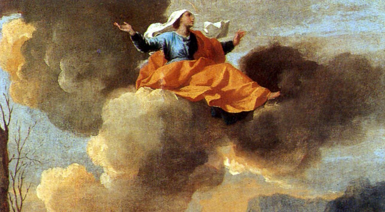 La Translation miraculeuse de sainte Rita de Cascia ou La Vierge protégeant Spolète, Nicolas Poussin, vers 1663 (détail). Dulwich Picture Gallery. Sainte Rita, patronne des causes désespérées.